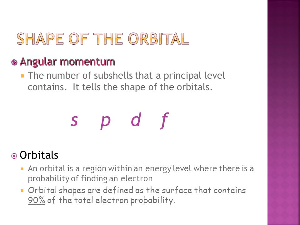  Angular momentum  The number of subshells that a principal level contains.