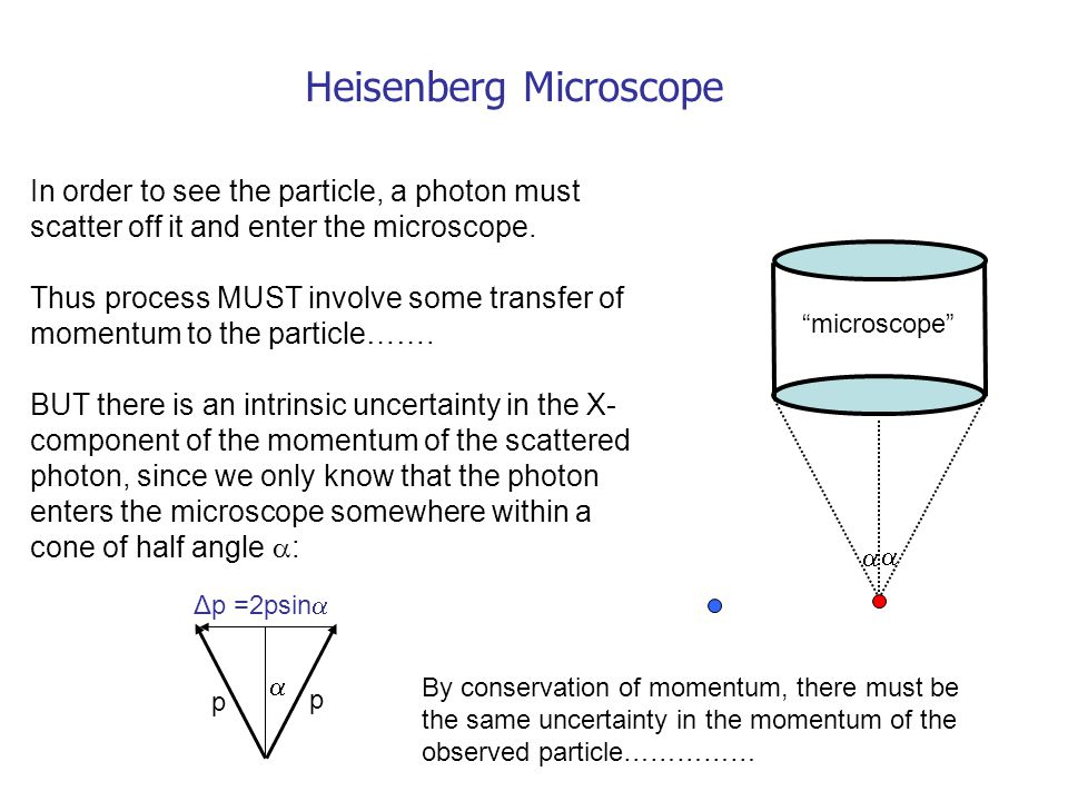 Heisenberg Microscope In order to see the particle, a photon must scatter off it and enter the microscope.