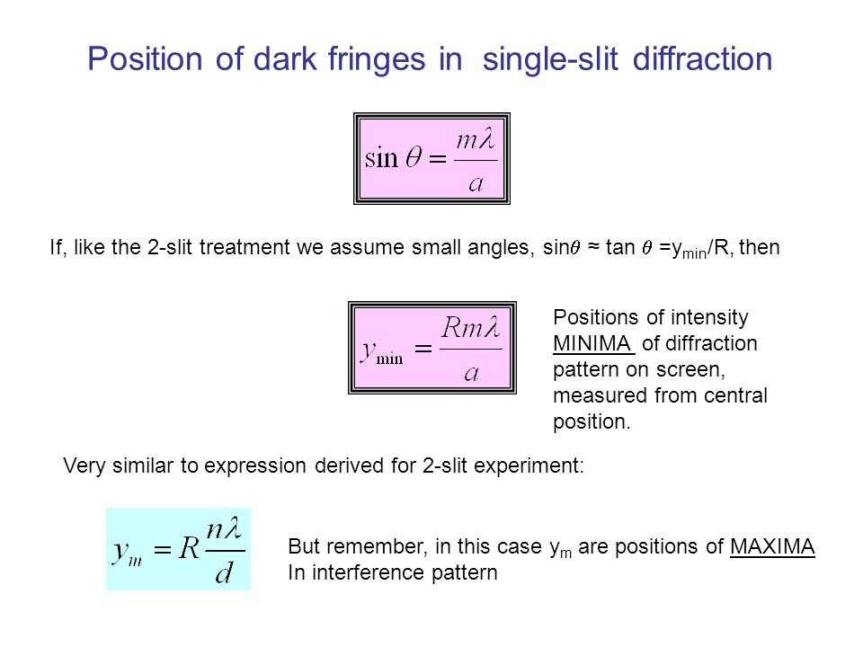 Position of dark fringes in single-slit diffraction If, like the 2-slit treatment we assume small angles, sin  ≈ tan  =y min /R, then Positions of intensity MINIMA of diffraction pattern on screen, measured from central position.