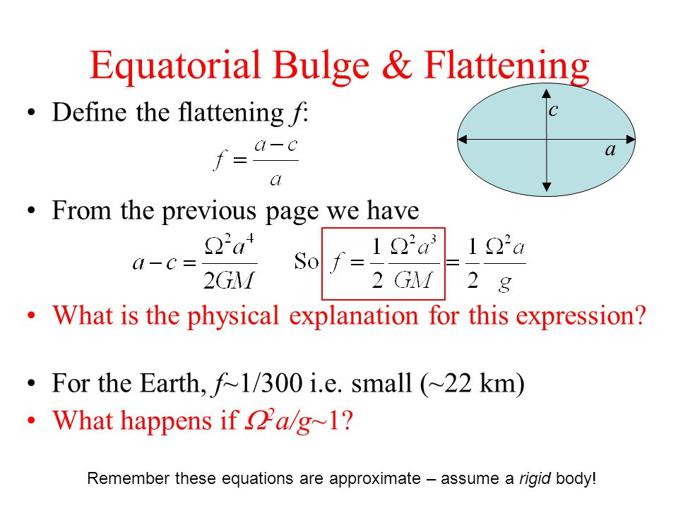 Equatorial Bulge & Flattening Define the flattening f: From the previous page we have What is the physical explanation for this expression.