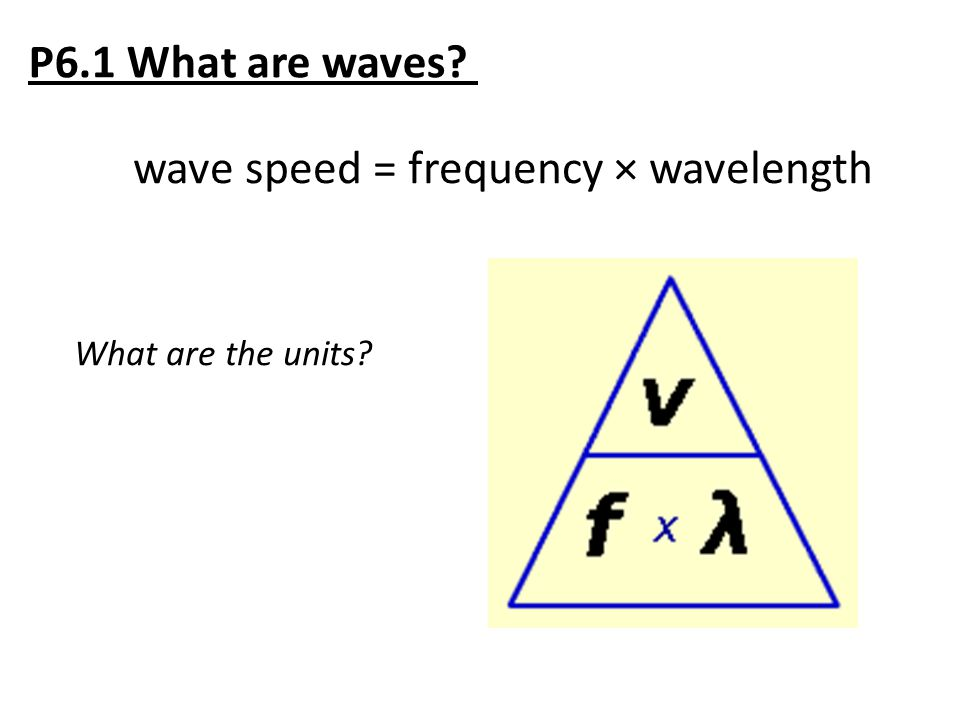 wave speed = frequency × wavelength What are the units?