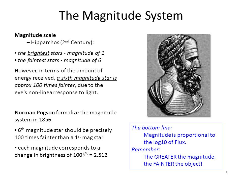 The Magnitude System Magnitude scale – Hipparchos (2 nd Century): the brightest stars - magnitude of 1 the faintest stars - magnitude of 6 However, in terms of the amount of energy received, a sixth magnitude star is approx 100 times fainter, due to the eye s non-linear response to light.