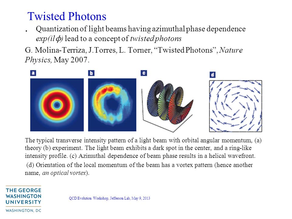 QCD Evolution Workshop, Jefferson Lab, May 9, 2013 Twisted Photons.