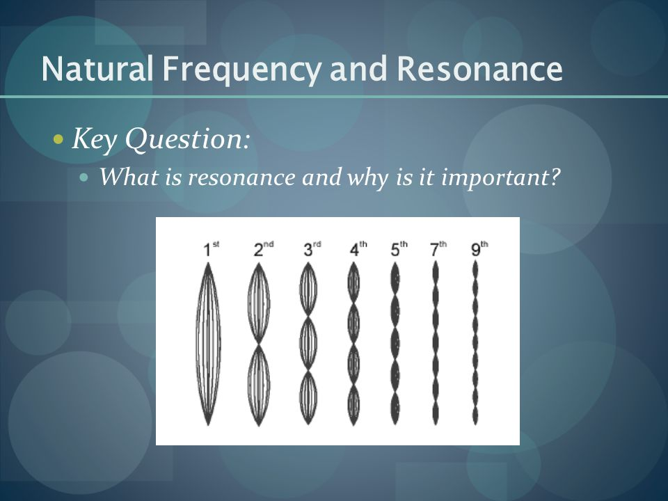 Key Question: What is resonance and why is it important? Natural Frequency and Resonance