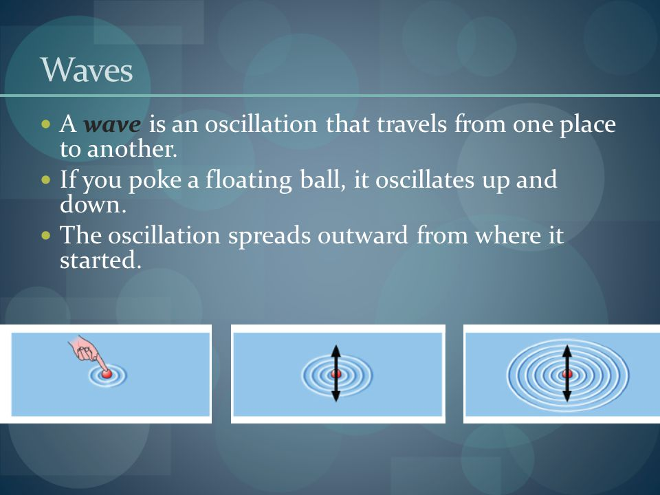Waves A wave is an oscillation that travels from one place to another. If you poke a floating ball, it oscillates up and down. The oscillation spreads