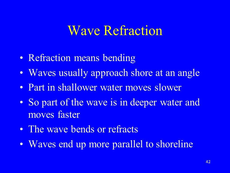 Wave Refraction Refraction means bending Waves usually approach shore at an angle Part in shallower water moves slower So part of the wave is in deepe
