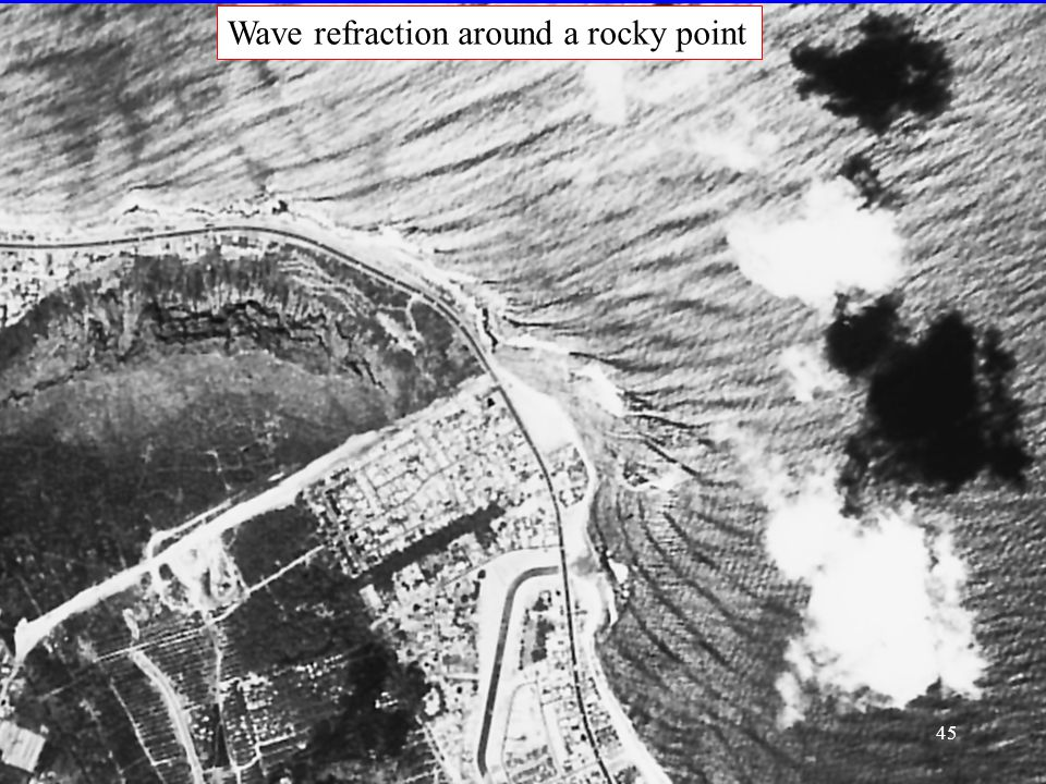 Wave refraction around a rocky point 45