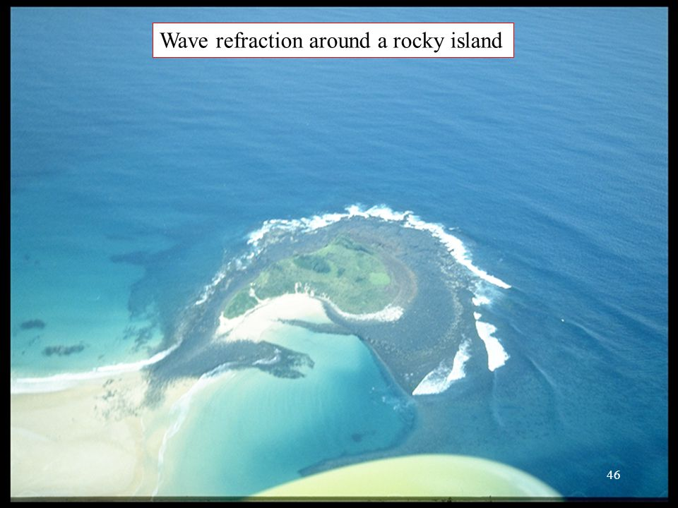 Wave refraction around a rocky island 46