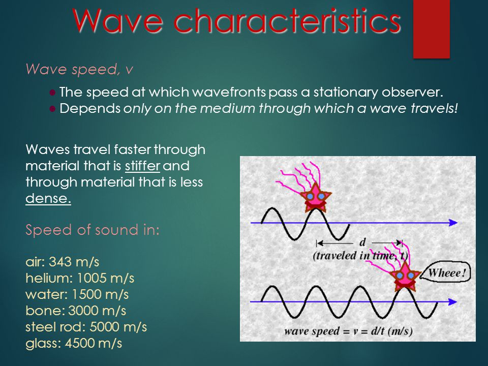 Mechanical Waves ● Only propagate (transmit energy) through a medium ● Make the particles of the medium oscillate at frequency of the wave Examples: waves on a string, sound waves, earthquakes, etc., EM (electromagnetic) waves ● Can propagate through a vacuum –or- through a medium ● Do not cause the particles of the medium to oscillate ● Made up of changing electric and magnetic fields ● always occur as transverse waves ● In a vacuum, EM waves travel at the speed of light c ≈ 3 x 10 8 m/s (EM waves travel more slowly through a medium) Mechanical vs.