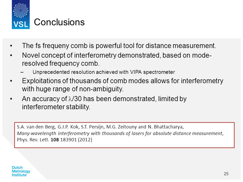 Conclusions The fs frequeny comb is powerful tool for distance measurement.