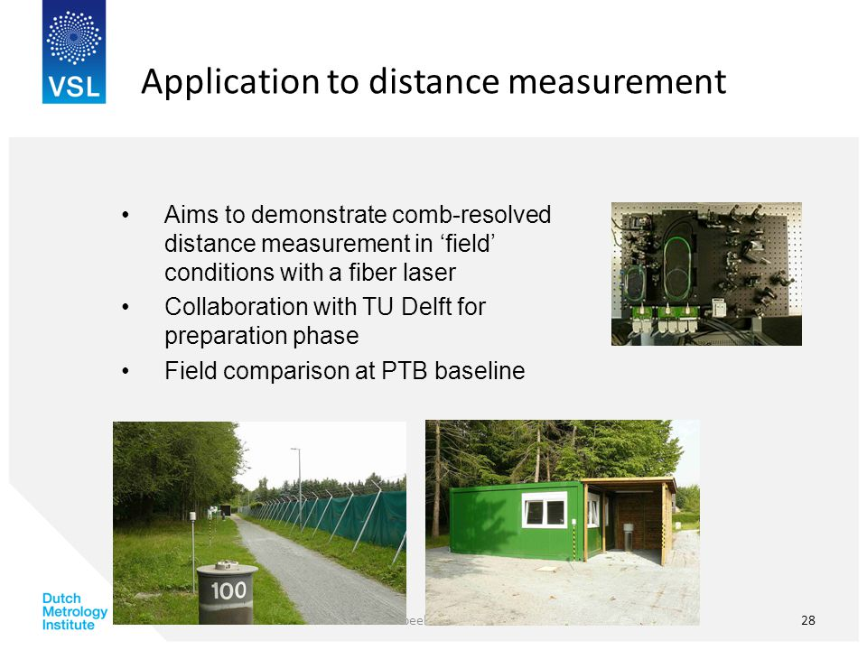 Application to distance measurement Aims to demonstrate comb-resolved distance measurement in 'field' conditions with a fiber laser Collaboration with TU Delft for preparation phase Field comparison at PTB baseline Voorbeeld voettekst28