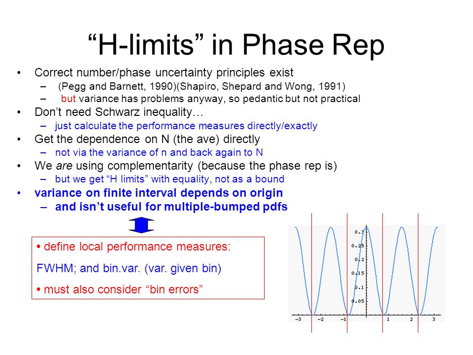 H-limits in Phase Rep Correct number/phase uncertainty principles exist – (Pegg and Barnett, 1990)(Shapiro, Shepard and Wong, 1991) – but variance has problems anyway, so pedantic but not practical Don't need Schwarz inequality… –just calculate the performance measures directly/exactly Get the dependence on N (the ave) directly –not via the variance of n and back again to N We are using complementarity (because the phase rep is) –but we get H limits with equality, not as a bound variance on finite interval depends on origin –and isn't useful for multiple-bumped pdfs define local performance measures: FWHM; and bin.var.