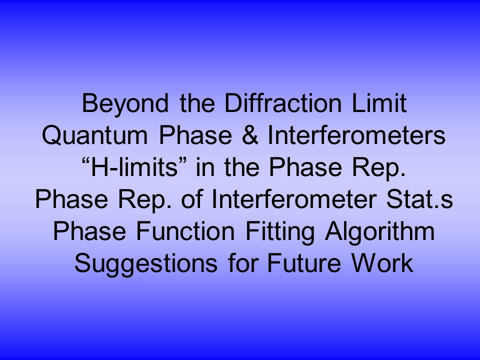 Beyond the Diffraction Limit Quantum Phase & Interferometers H-limits in the Phase Rep.