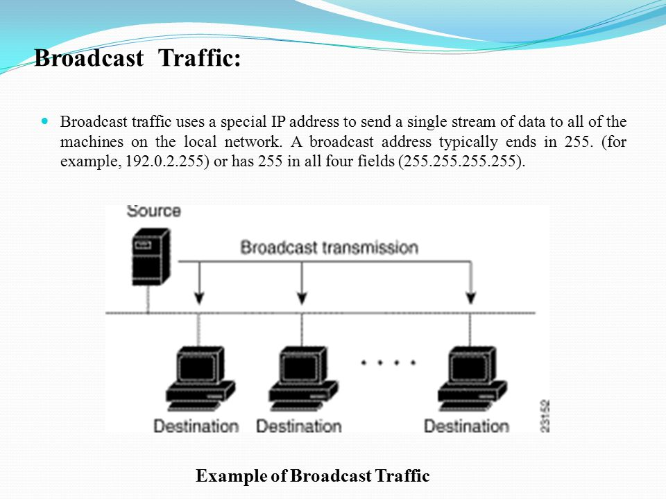 Broadcast Traffic: Broadcast traffic uses a special IP address to send a single stream of data to all of the machines on the local network.