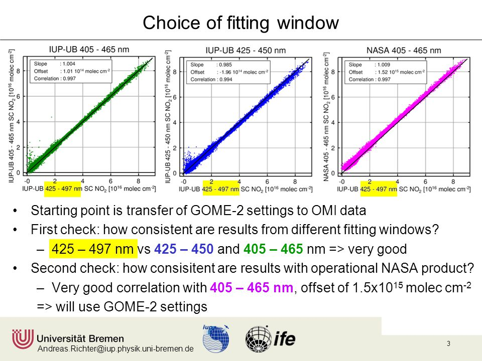Andreas.Richter@iup.physik.uni-bremen.de 3 Choice of fitting window Starting point is transfer of GOME-2 settings to OMI data First check: how consist