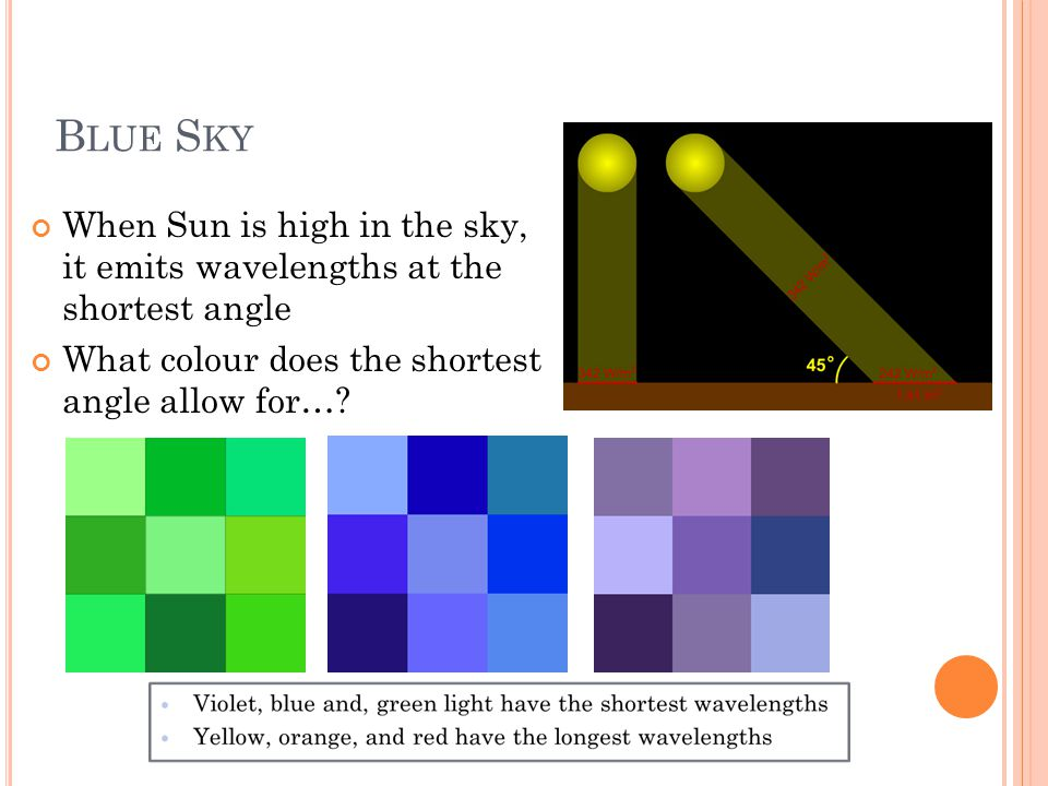 B LUE S KY When Sun is high in the sky, it emits wavelengths at the shortest angle What colour does the shortest angle allow for…?