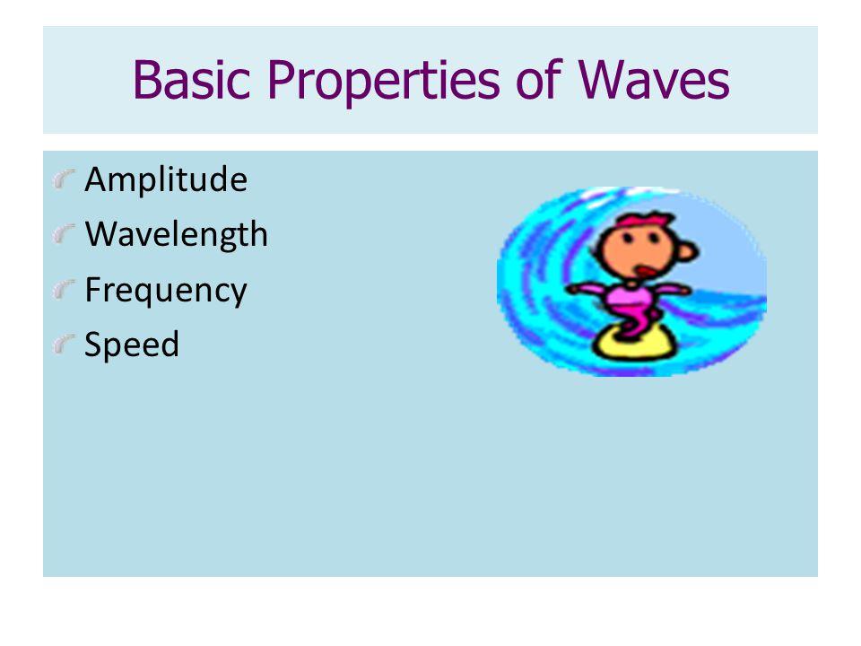 Basic Properties of Waves Amplitude Wavelength Frequency Speed