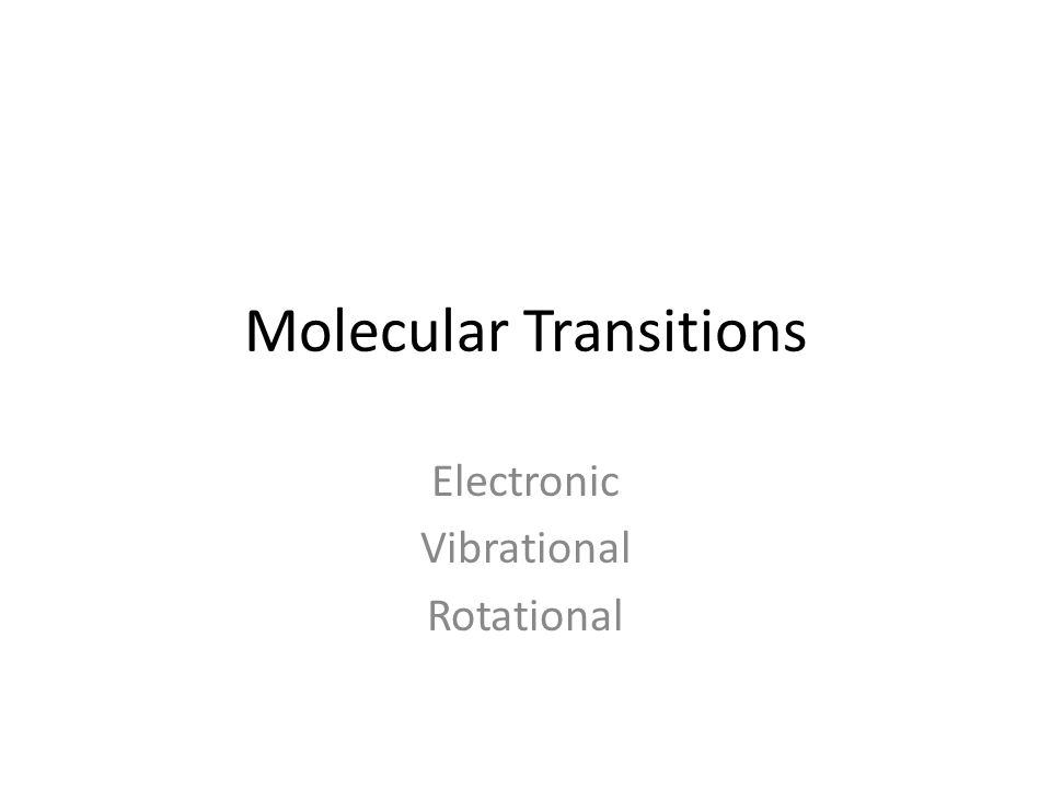 Molecular Transitions Electronic Vibrational Rotational