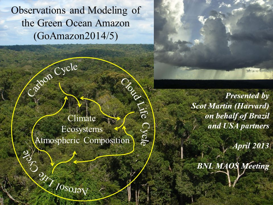 Observations and Modeling of the Green Ocean Amazon (GoAmazon2014/5) Climate Ecosystems Atmospheric Composition Presented by Scot Martin (Harvard) on behalf of Brazil and USA partners April 2013 BNL MAOS Meeting