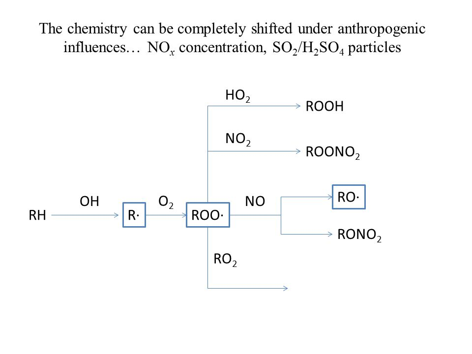 The chemistry can be completely shifted under anthropogenic influences… NO x concentration, SO 2 /H 2 SO 4 particles RH R·ROO· OH O2O2 ROOH RONO 2 RO· ROONO 2 NO NO 2 HO 2 RO 2