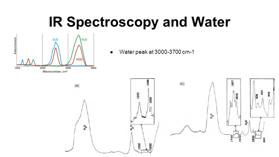 IR Spectroscopy and Water ●Water peak at 3000-3700 cm-1