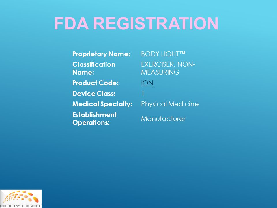 FDA REGISTRATION Proprietary Name: BODY LIGHT ™ Classification Name: EXERCISER, NON- MEASURING Product Code: ION Device Class: 1 Medical Specialty: Physical Medicine Establishment Operations: Manufacturer