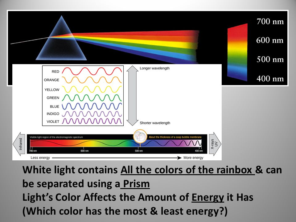 White light contains All the colors of the rainbox & can be separated using a Prism Light's Color Affects the Amount of Energy it Has (Which color has the most & least energy?)