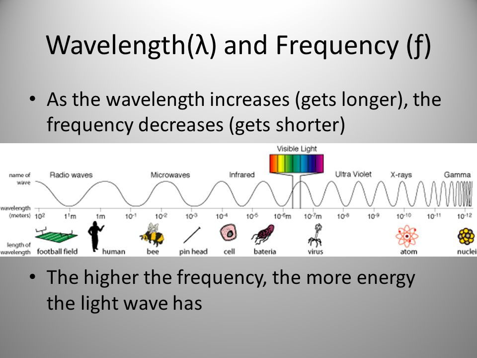 Wavelength(λ) and Frequency (ƒ) As the wavelength increases (gets longer), the frequency decreases (gets shorter) The higher the frequency, the more energy the light wave has