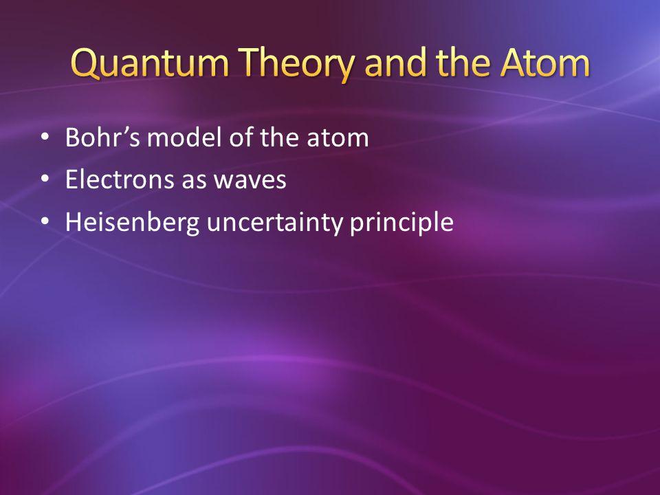 Bohr's model of the atom Electrons as waves Heisenberg uncertainty principle
