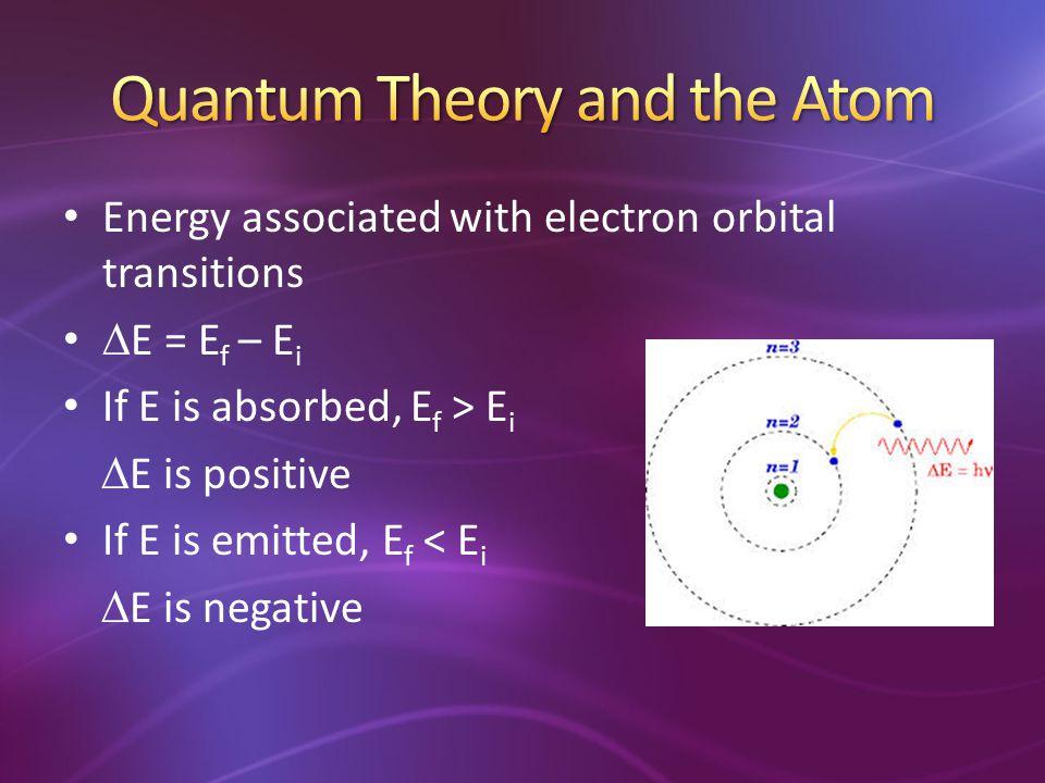  E = E f – E i If E is absorbed, E f > E i  E is positive If E is emitted, E f < E i  E is negative