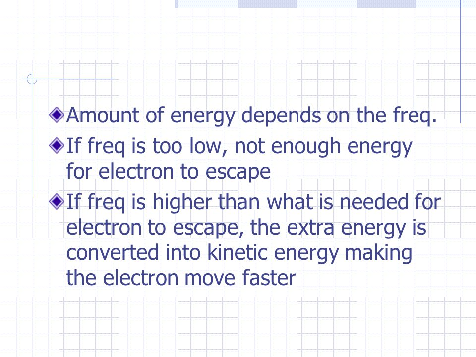 Amount of energy depends on the freq.