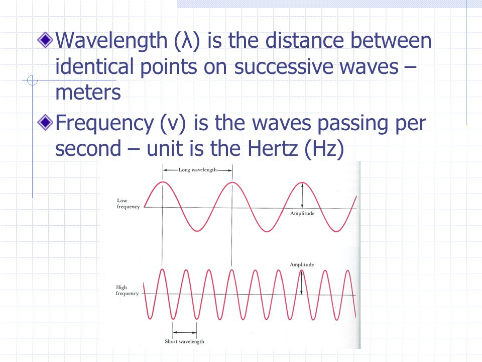 Wavelength (λ) is the distance between identical points on successive waves – meters Frequency (ν) is the waves passing per second – unit is the Hertz (Hz)