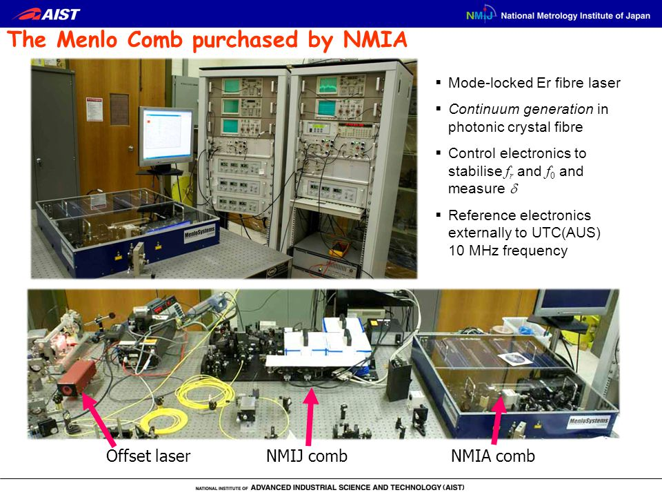  Mode-locked Er fibre laser  Continuum generation in photonic crystal fibre  Control electronics to stabilise f r and f 0 and measure   Reference electronics externally to UTC(AUS) 10 MHz frequency The Menlo Comb purchased by NMIA Offset laser NMIJ combNMIA comb