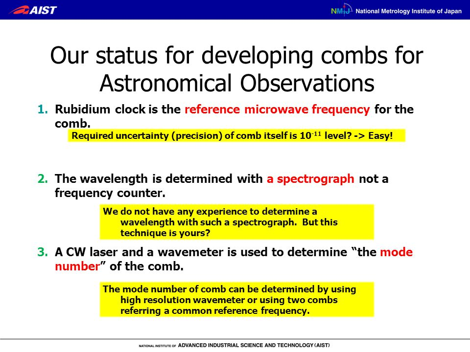 1.Rubidium clock is the reference microwave frequency for the comb. Required uncertainty (precision) of comb itself is 10 -11 level? -> Easy! 2.The wa
