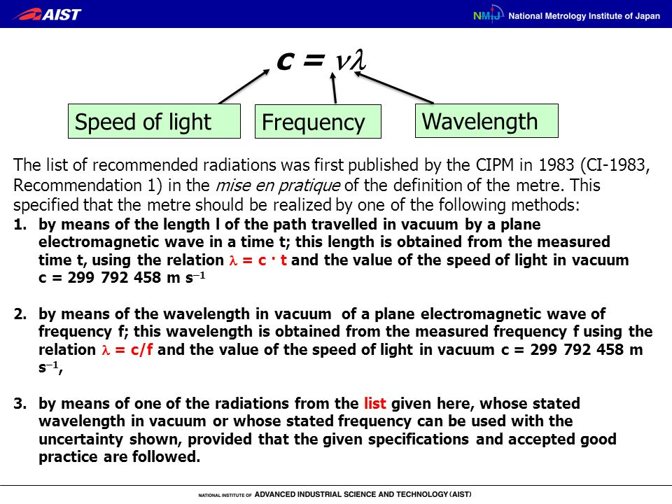 c = Speed of light Wavelength Frequency The list of recommended radiations was first published by the CIPM in 1983 (CI-1983, Recommendation 1) in the mise en pratique of the definition of the metre.