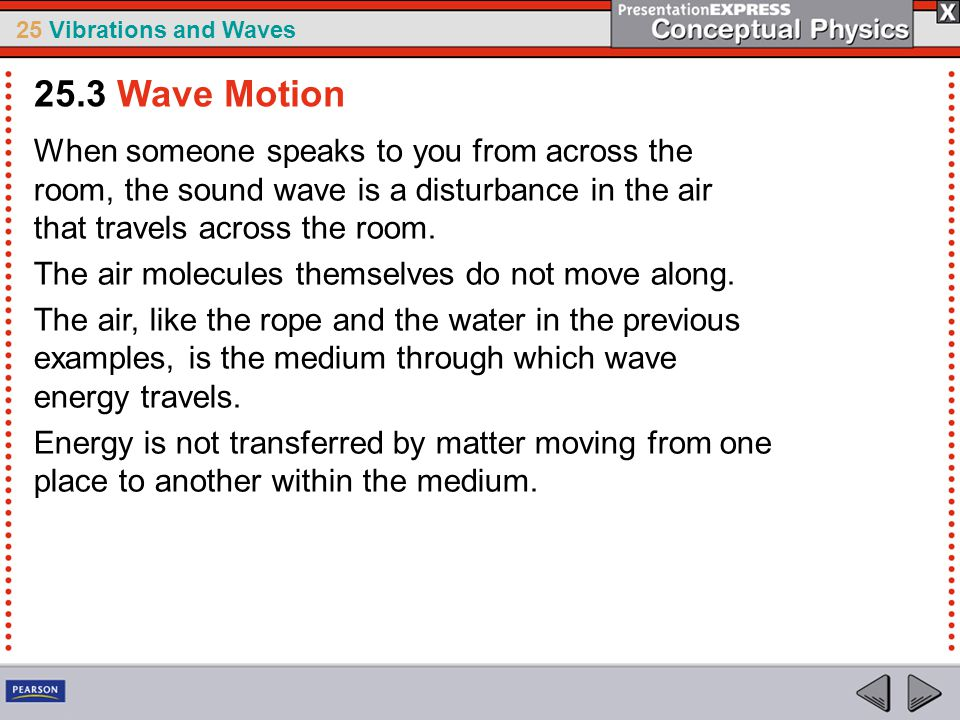 25 Vibrations and Waves When someone speaks to you from across the room, the sound wave is a disturbance in the air that travels across the room. The