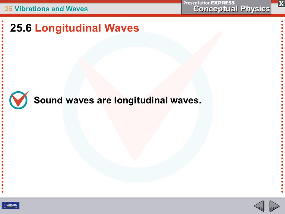 25 Vibrations and Waves Sound waves are longitudinal waves. 25.6 Longitudinal Waves