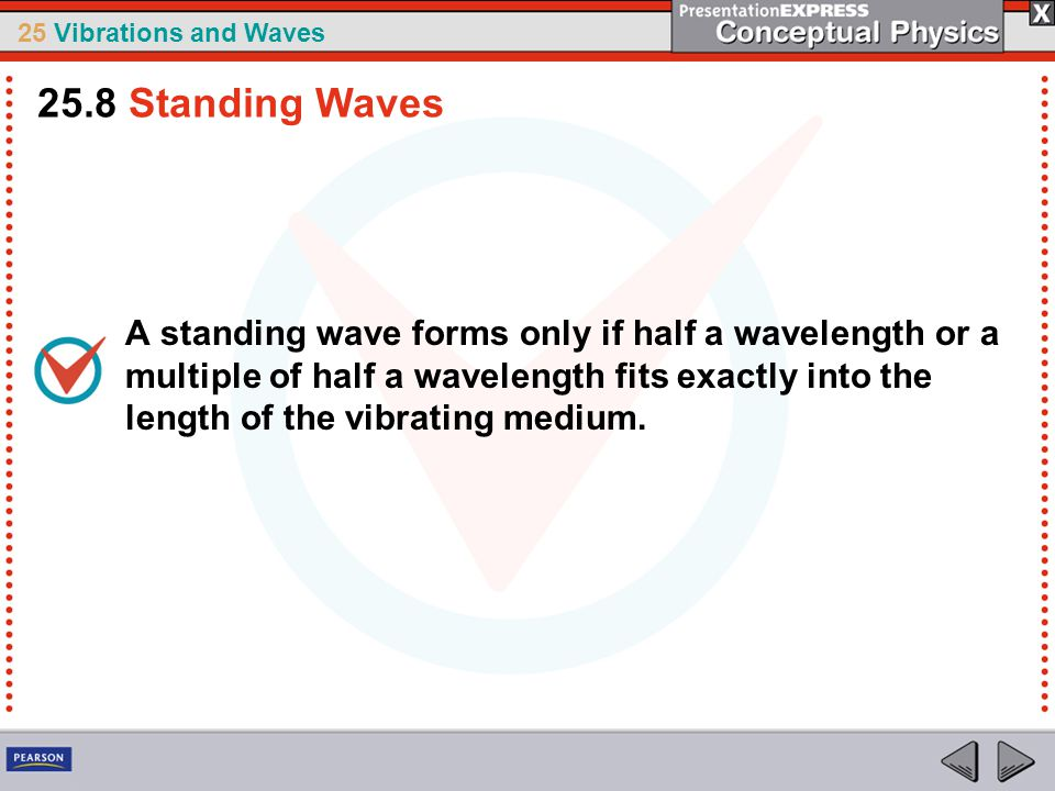 25 Vibrations and Waves A standing wave forms only if half a wavelength or a multiple of half a wavelength fits exactly into the length of the vibrati