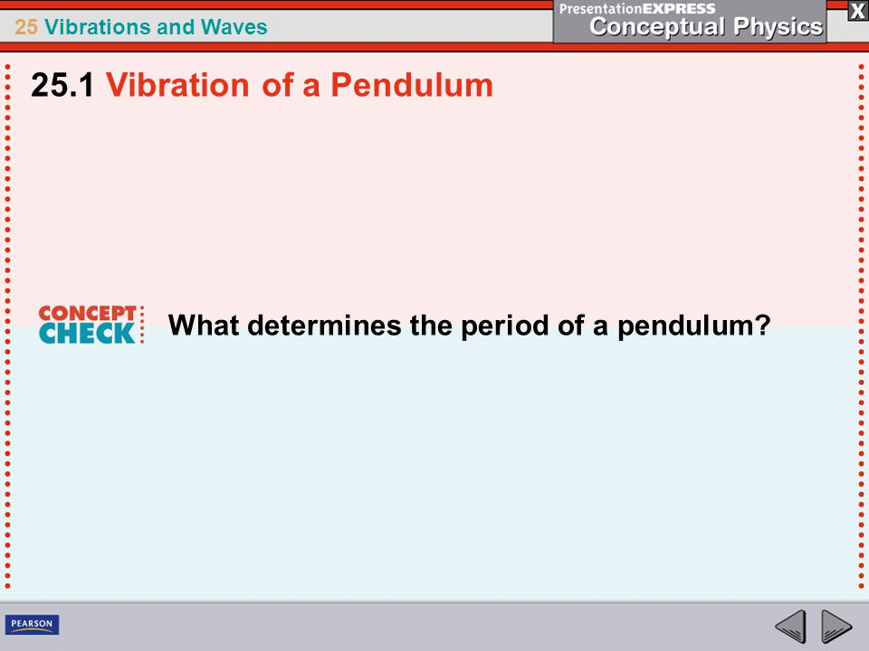 25 Vibrations and Waves What determines the period of a pendulum? 25.1 Vibration of a Pendulum