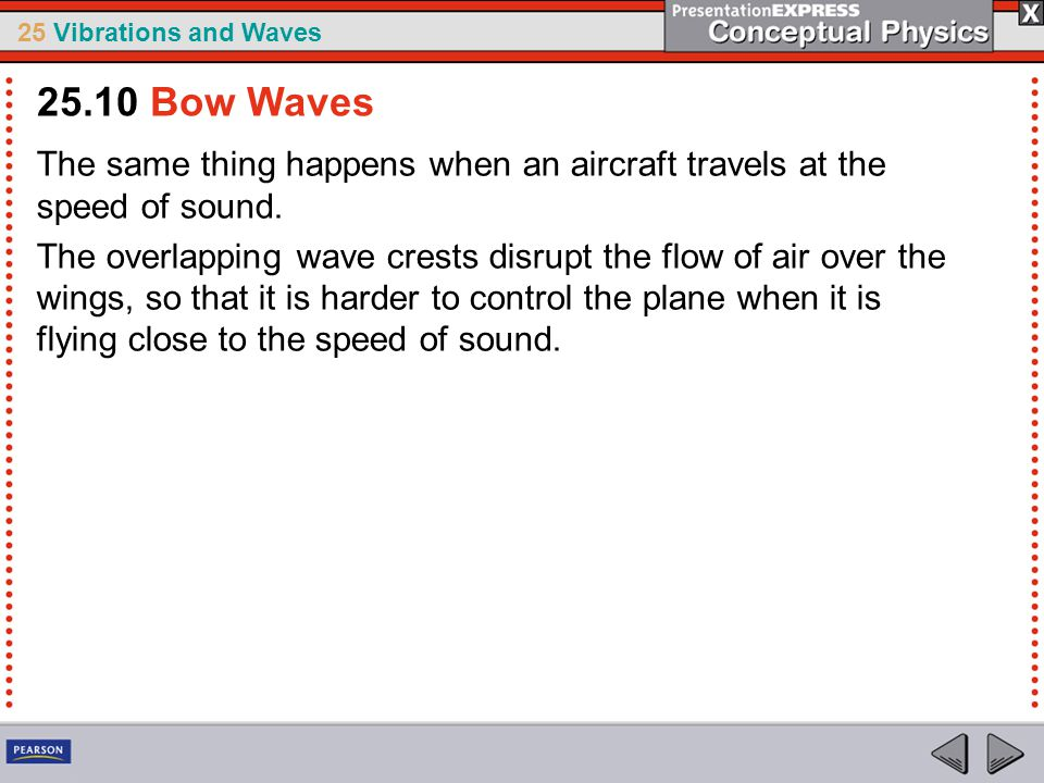 25 Vibrations and Waves The same thing happens when an aircraft travels at the speed of sound. The overlapping wave crests disrupt the flow of air ove