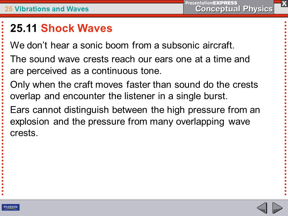 25 Vibrations and Waves We don't hear a sonic boom from a subsonic aircraft. The sound wave crests reach our ears one at a time and are perceived as a