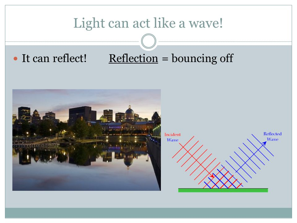 Light can act like a wave! It can reflect! Reflection = bouncing off