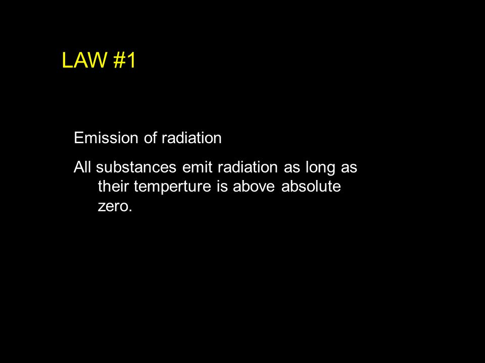 Emission of radiation All substances emit radiation as long as their temperture is above absolute zero.