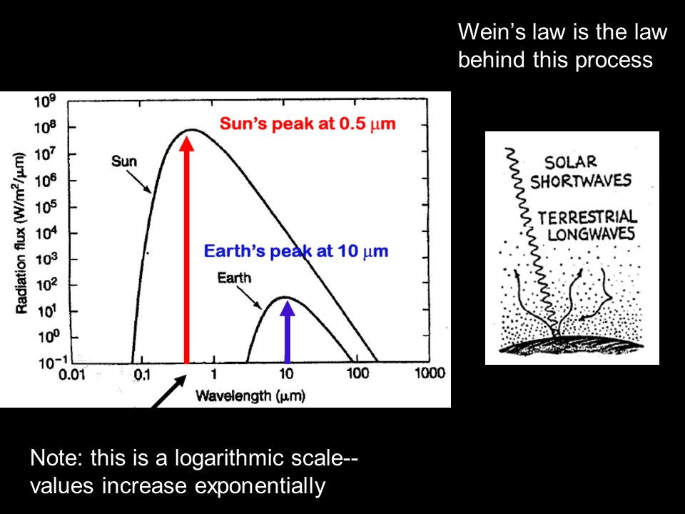 Note: this is a logarithmic scale-- values increase exponentially Wein's law is the law behind this process