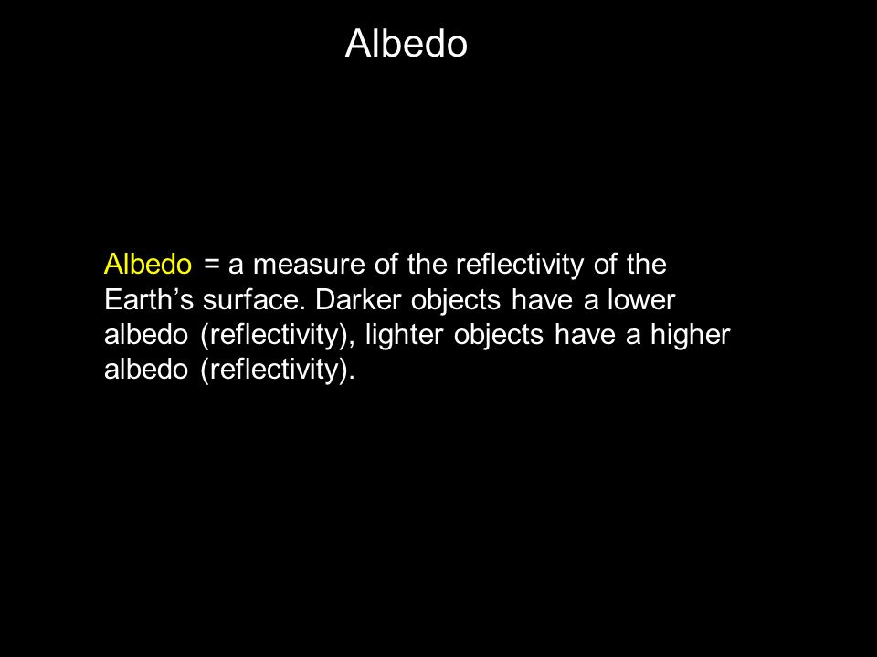 Albedo = a measure of the reflectivity of the Earth's surface.