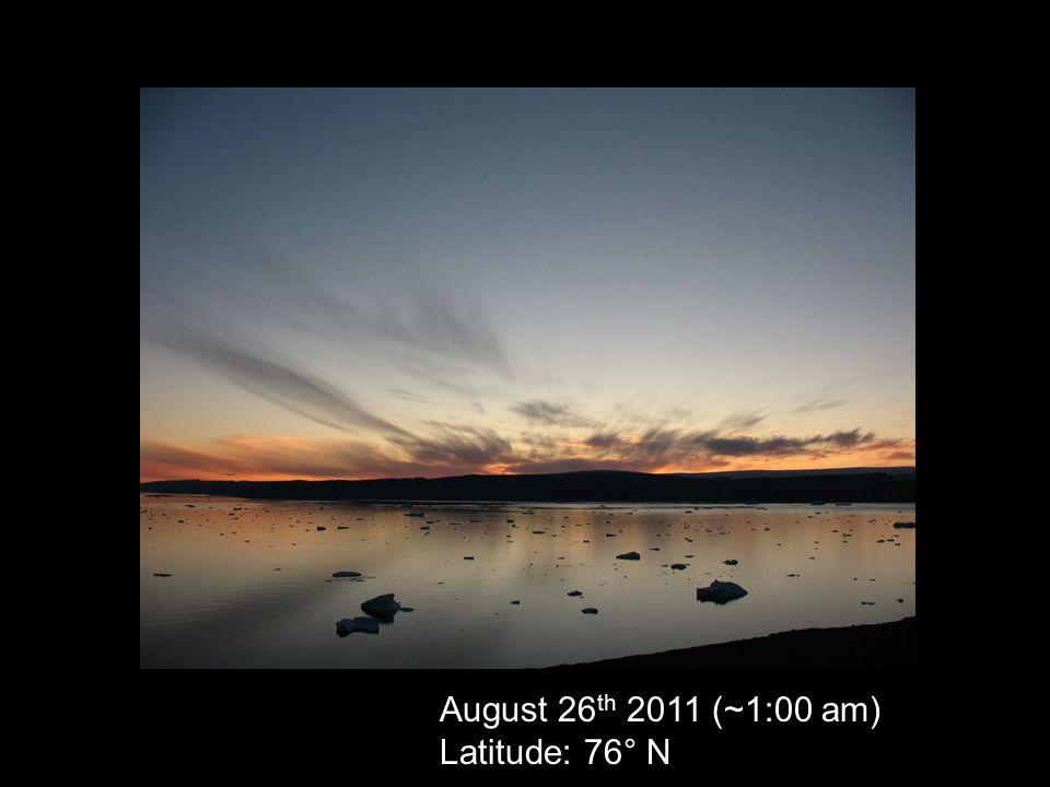 August 26 th 2011 (~1:00 am) Latitude: 76° N