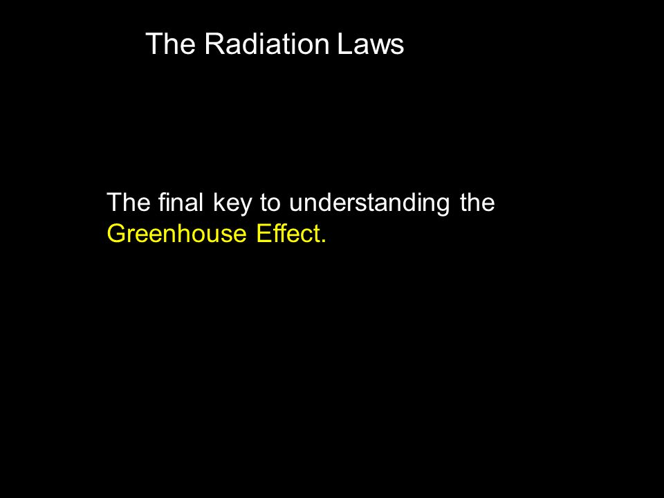 The Radiation Laws The final key to understanding the Greenhouse Effect.