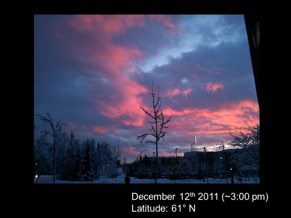 December 12 th 2011 (~3:00 pm) Latitude: 61° N