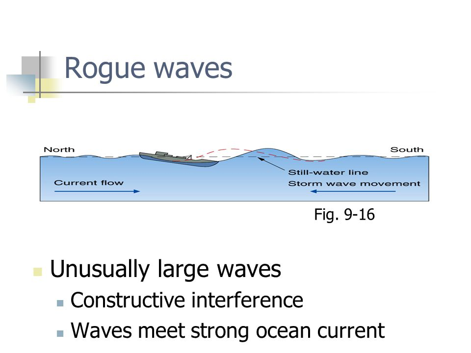 Rogue waves Unusually large waves Constructive interference Waves meet strong ocean current Fig.