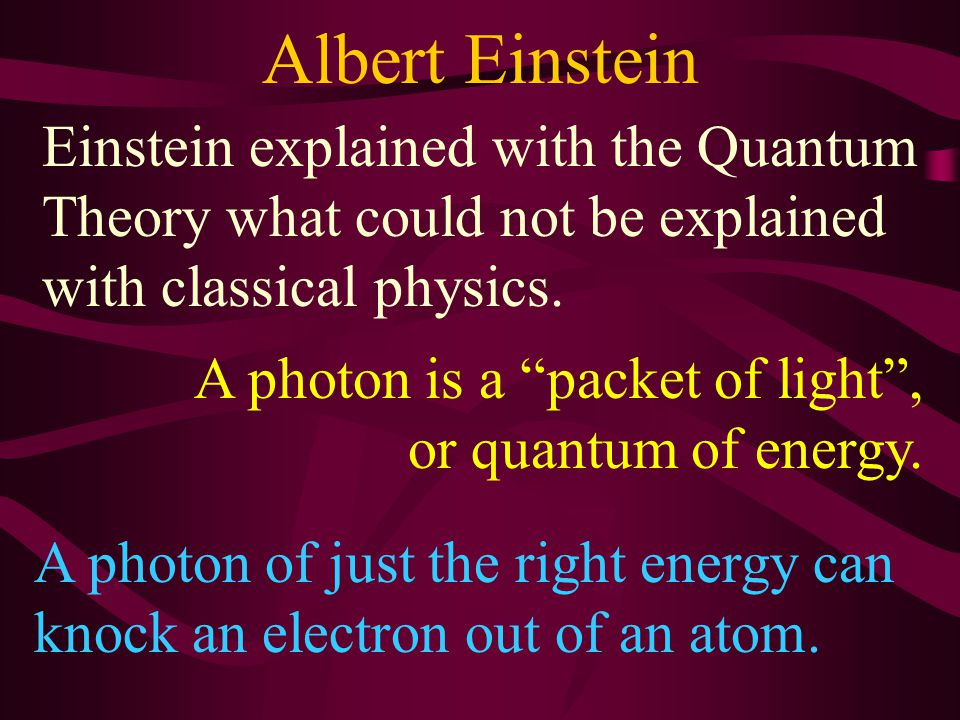 Cadmium Sulfide Albert Einstein In 1905 Einstein used Max Planck's idea of quanta to explain the photoelectric effect.